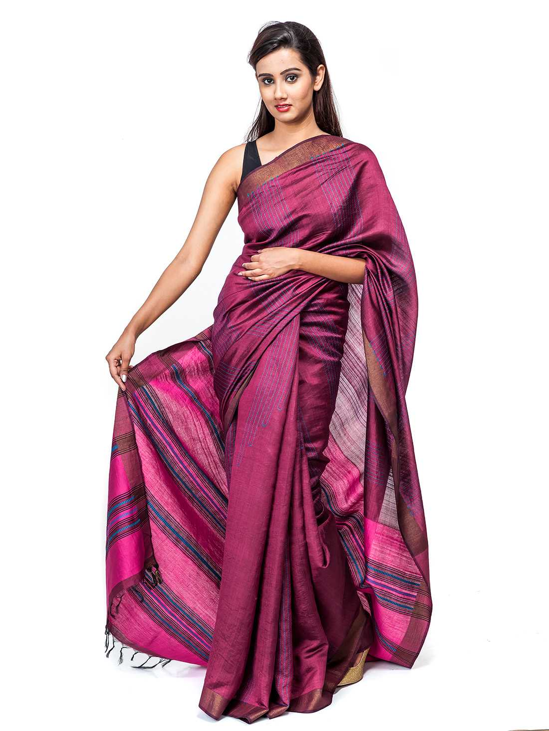 Purple Pure Tussar Silk Saree