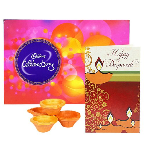Celebrations with Card & Diya - Diwali Gifts