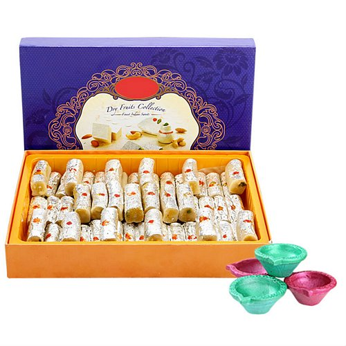 1 kg Kaju Roll and Diyas - Diwali Gifts