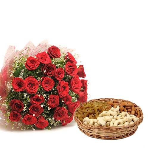 Dry Fruits & Rose Bouquet - Diwali Gifts