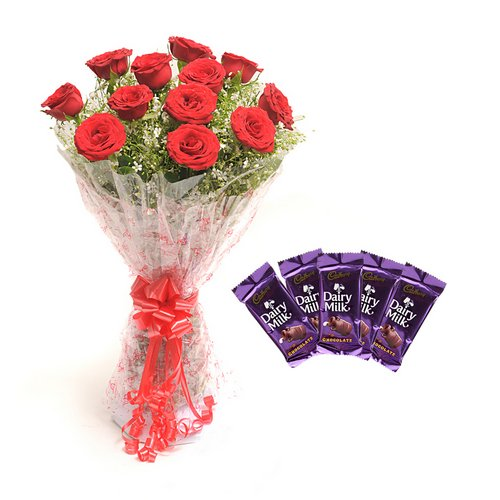 Roses With Chocolates - Diwali Gifts