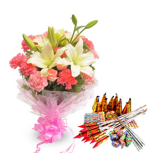 Exotic Bouquet N Crackers - Diwali Gifts
