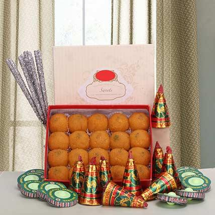 Laddoos and Crackers Delight - Diwali Gifts