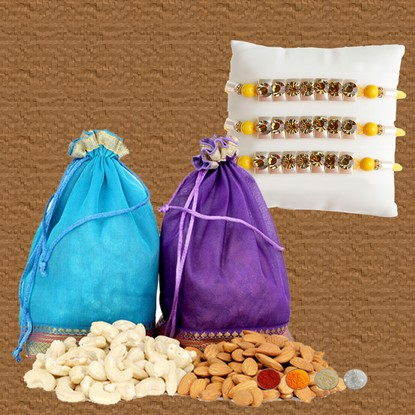 Designer Rakhis with 300g Almonds and Cashews