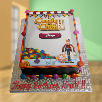 1kg Candy Crush Photo Cake Eggless