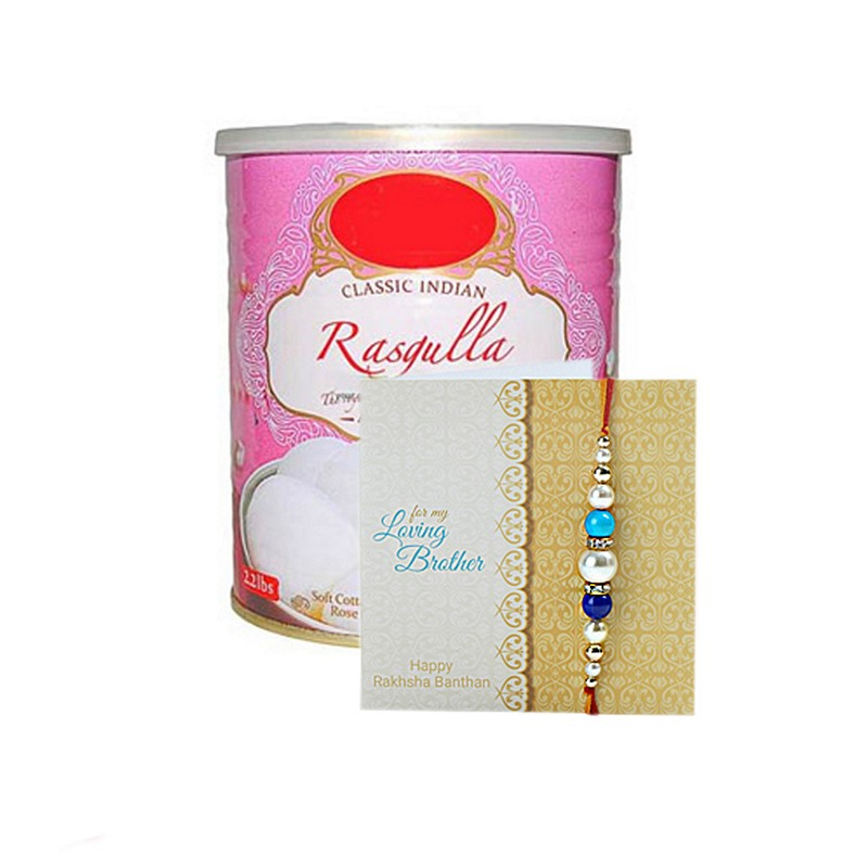 1kg Rasgulla With Rakhi Hamper