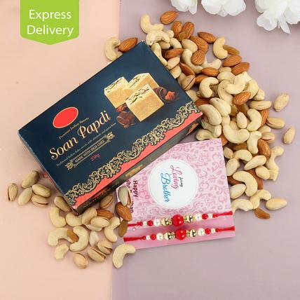 Rakhi With Sweets And Dry Fruits