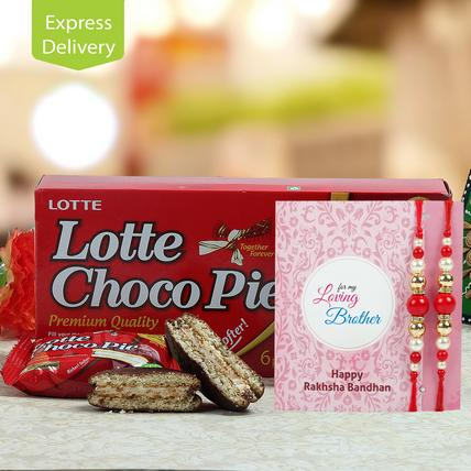 Choco Pie With Two Rakhis