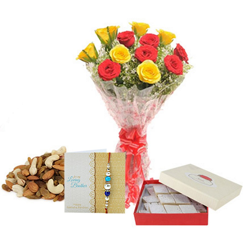Roses With Rakhi Hamper