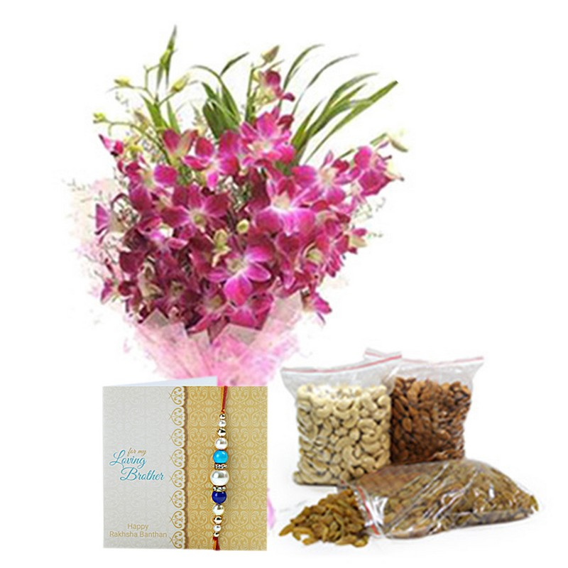 1 Kg Dryfruits & Orchids With Rakhi