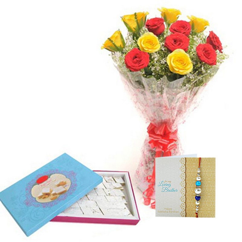 Red N Yellow Roses & Rakhi