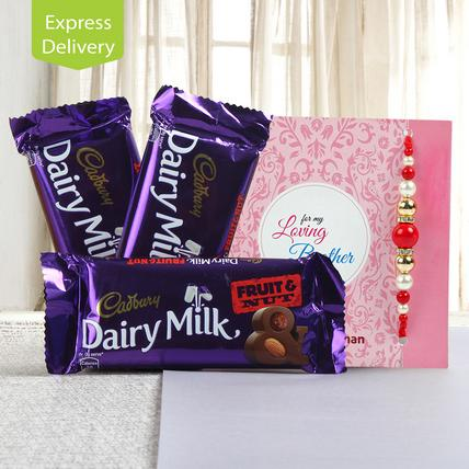 Hamper of fruit n nut chocolates-Rakhi
