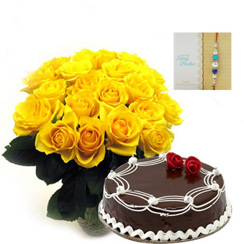 Yellow Roses With Cake