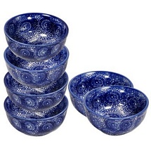 Set of 6 Ceramic Curry/Rice/Veg Bowls (Blue)
