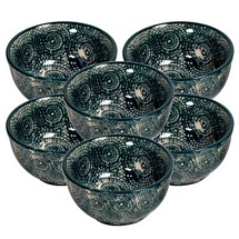 Set of 6 Ceramic Curry/Rice/Veg Bowls (Green)