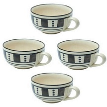 Set of 4 Stoneware Ceramic Soup Bowl