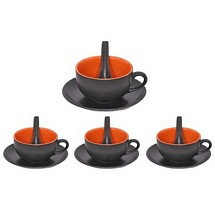 Black n Orange 3 Pc Soup Bowls Set of 4
