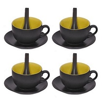 Black n Green 3 Pc Soup Bowls Set of 4