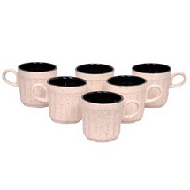 White n Black Doutone Ceramic Tea Cups Set of 6