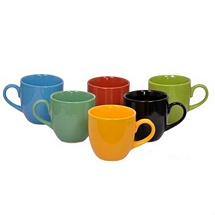 Multicolor Glossy Ceramic Tea Cups Set of 6