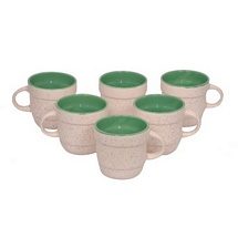 White n Olive Green Ceramci Tea Cups Set of 6