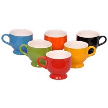 Set of 6 Glossy Multicolor Ceramic Tea Cups