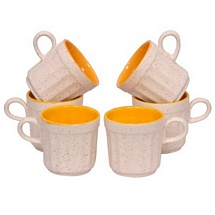 White n Yellow Tea Cups Set of 6
