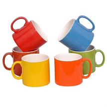 Multicolor Tea Cups Set of 6 with White Inside