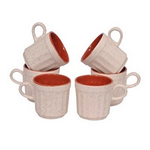 White and Maroon Ceramic Tea Cups Set of 6