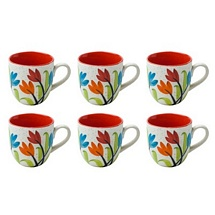 Floral Design White & Maroon Ceramic Tea Cups Set of 6