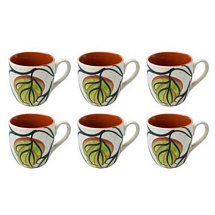 Leaf Design White & Brown Tea Cups Set of 6