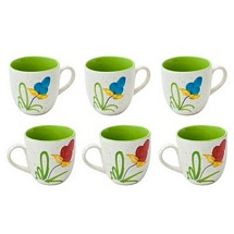 Floral Print White & Green Ceramic Tea Cups Set of 6