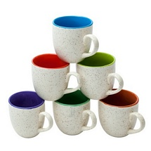 White and Multicolor Inside Tea Cups - (Set of 6)