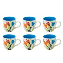 Flowery Ceramic White & Blue Tea Cups Set of 6