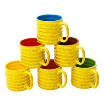 Yellow & Multicolor Inside Spiral Design Tea Cups Set of 6