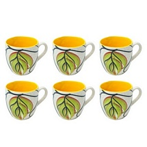 Elegant Leaf Design White & Yellow Tea Cups Set of 6