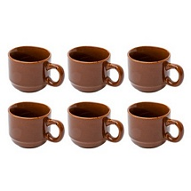 Set of 6 Coffee Color Ceramic Tea Cups