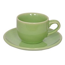 Olive Green Stoneware Cups n Saucers - Set of 6