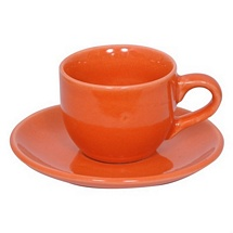 Orange Stoneware Cups n Saucers - Set of 6