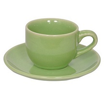 Olive Green Stoneware Cups n Saucers - Set of 12