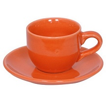 Orange Stoneware Cups n Saucers - Set of 12
