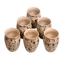 Off White Floral Printed Kulhar Cups (Set of 6)