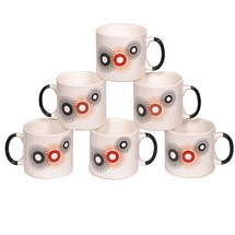 White Printed Straight Tea Cups (Set of 6)