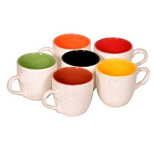 Marble Finish White Duo Tone Colorful Tea Cups (Set of 6)