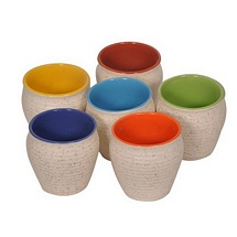 Off White Duo Tone Multicolor Kulhar Tea Cups (Set of 6)