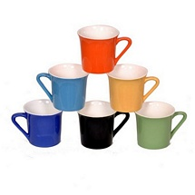 Multicolor Duo Tone Ceramic Tea Cups (Set of 6)