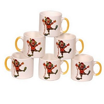 Laughter Design White Ceramic Tea Cups (Set of 6)