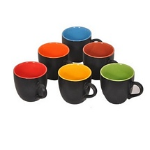 Black Duo Tone Multicolor Tea Cups (Set of 6)
