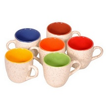 Off White Duo Tone Colorful Tea Cups (Set of 6)
