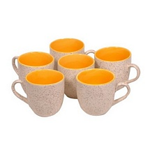 Marble Finish Off White Duo Tone Yellow Ceramic Cups (Set of 6)
